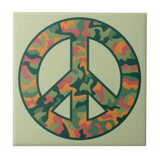 Colorful Camo Peace Ceramic Tile