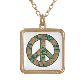 Colorful Camo Peace Gold Plated Necklace