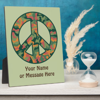Colorful Camo Peace Plaque