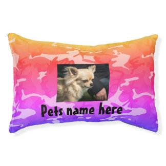Colorful Camo Pet Pillow (your pets name & Photo)