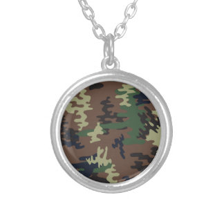 Colorful Camouflage seamless pattern Silver Plated Necklace