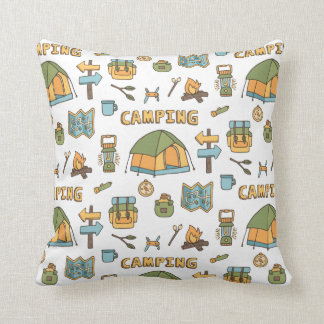 Colorful Camping Gear Pattern Throw Pillow