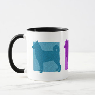 Colorful Canaan Dog Silhouettes Mug