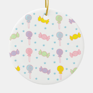Colorful Candy and Stars Round Ceramic Decoration