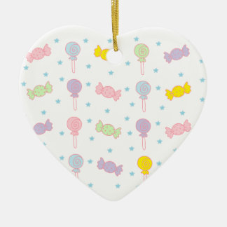 Colorful Candy and Stars Ceramic Heart Decoration