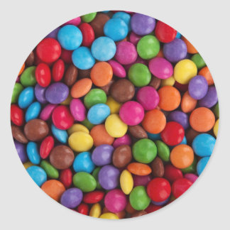 Colorful Candy Coated Chocolates Yum! Round Sticker