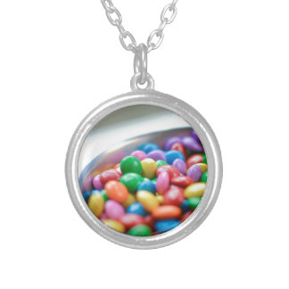 colorful candy silver plated necklace