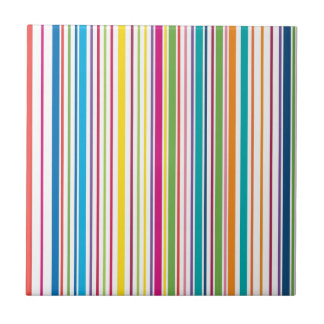 Colorful Candy Stripes Ceramic Tile