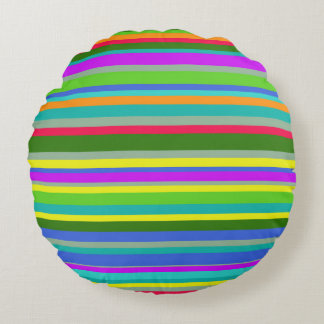 Colorful Candy Stripes Round Cushion