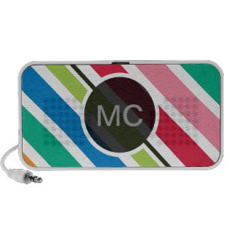 Colorful Candy Stripes (Thick) Custom Text Travel Speakers