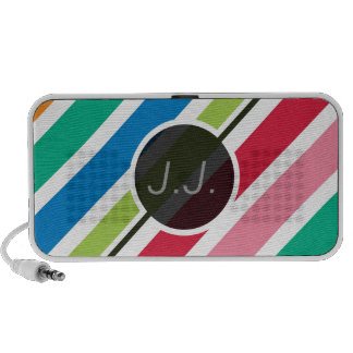 Colorful Candy Stripes (Thick) Custom Text Mp3 Speaker