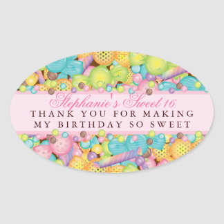 Colorful Candy Sweet 16 Favor Thank You Sticker