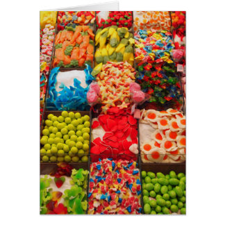 Colorful candy sweet shop greeting card