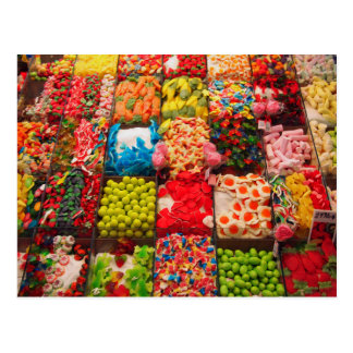 Colorful candy sweet shop postcard