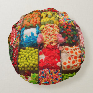 Colorful candy sweet shop round pillow
