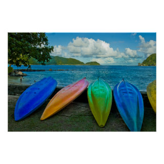Colorful Canoes On The Beach In Pago Pago Poster