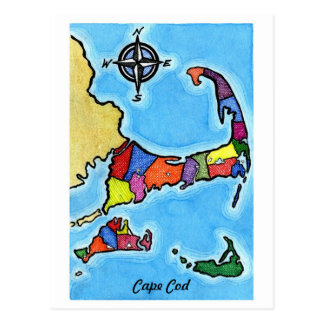 Colorful Cape Cod Map Postcard