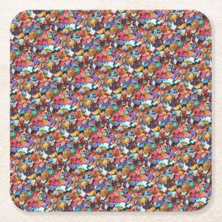 Colorful Carnival Confetti Party Square Paper Coaster