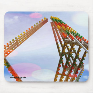 Colorful Carnival Sizzler Ride Lights and Skyline Mouse Pad
