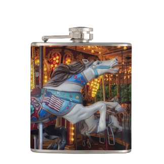 Colorful Carousel Horse and Merry Go Round Hip Flask