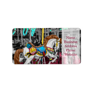 Colorful Carousel Horse at Carnival Address Label