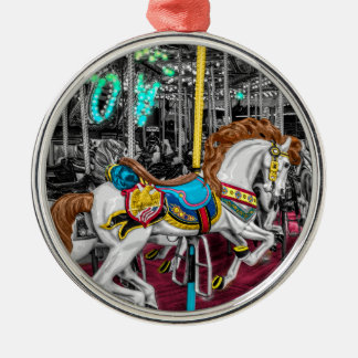Colorful Carousel Horse at Carnival Silver-Colored Round Decoration