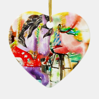 Colorful Carousel Horse Ceramic Heart Decoration