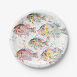 Colorful Carps Paper Plate