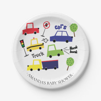 "Colorful Cars & Trucks Boys Baby Shower 7"" Plate"