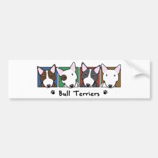 Colorful Cartoon Bull Terriers Bumper Sticker