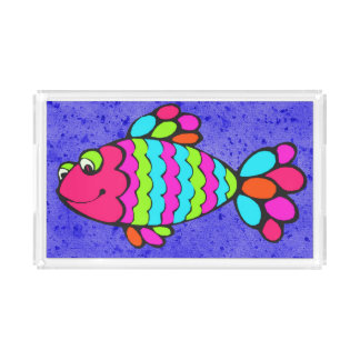 Colorful Cartoon Fish Smiling with Blue Background Acrylic Tray