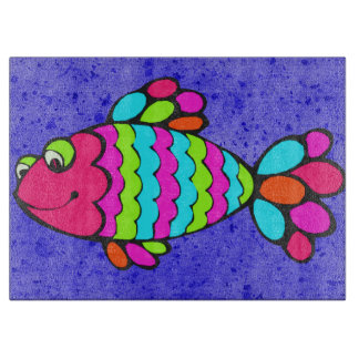 Colorful Cartoon Fish Smiling with Blue Background Cutting Board