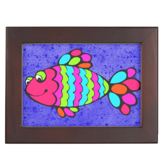 Colorful Cartoon Fish Smiling with Blue Background Keepsake Box