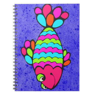 Colorful Cartoon Fish Smiling with Blue Background Notebook
