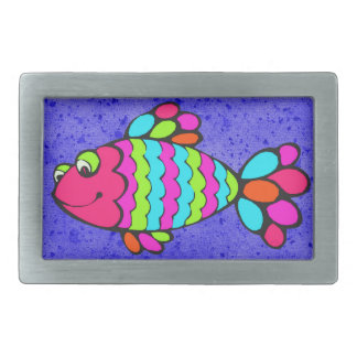 Colorful Cartoon Fish Smiling with Blue Background Rectangular Belt Buckle