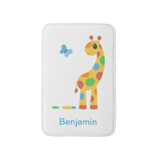 Colorful Cartoon Giraffe and Butterfly Bath Mat