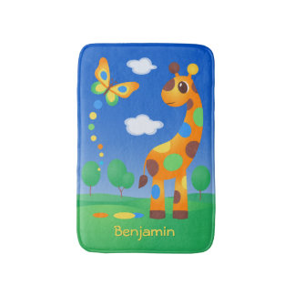 Colorful Cartoon Giraffe Bath Mat