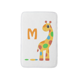 Colorful Cartoon Giraffe Monogram Bath Mat