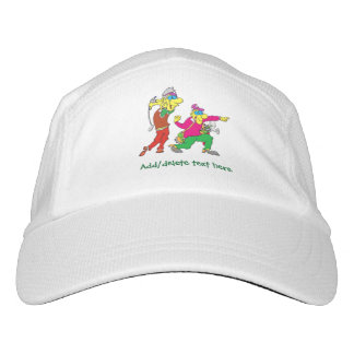 Colorful Cartoon Golfer and Caddie Hat