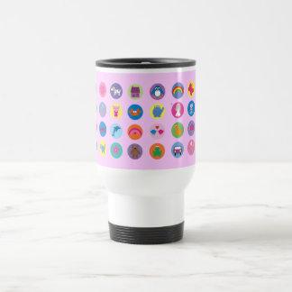 Colorful Cartoon Icons Cute Stuff Pink Custom Stainless Steel Travel Mug
