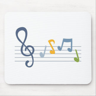 Colorful cartoon music notes mouse pad