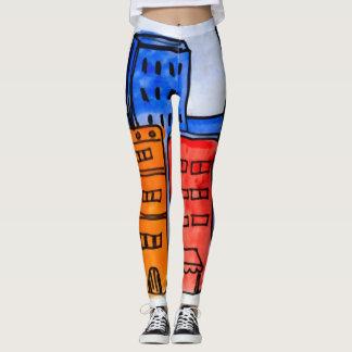 Colorful Cartoon New York City Graffiti Leggings