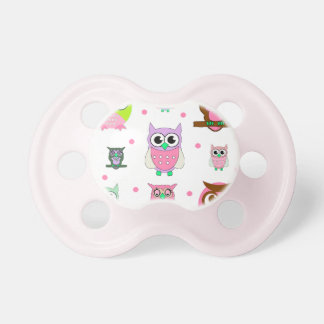 Colorful Cartoon Owls Baby Pacifier