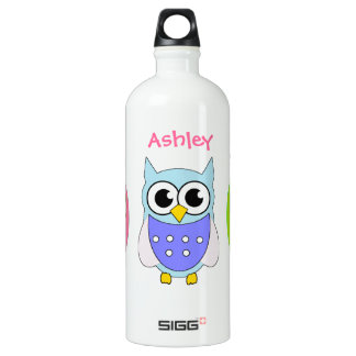 Colorful Cartoon Owls Water Bottle