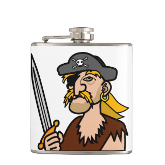 Colorful Cartoon Pirate with Sword Hip Flask