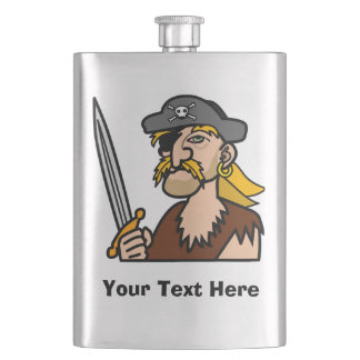 Colorful Cartoon Pirate with Your Text Hip Flask