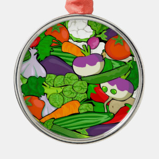 Colorful Cartoon Vegetables Metal Ornament
