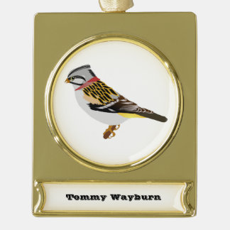 Colorful cartoon yellow and brown sparrow gold plated banner ornament