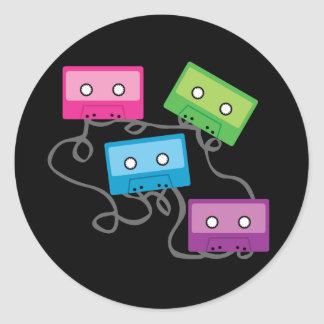 Colorful Cassette Tapes Round Sticker
