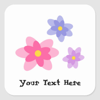 Colorful Casual Spring Flowers Square Sticker